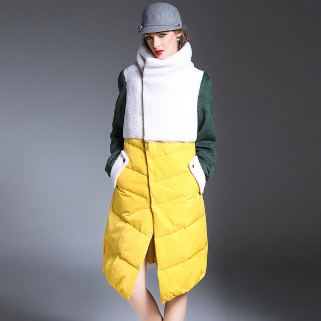 2016 mulheres de Inverno casaco longo para baixo casaco feminino gola de lã patchwork color contrast plus size engrossar parkas casuais para baixo