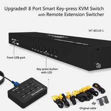 Upgraded! MT-VIKI 8 Port Smart Manual Key-press VGA USB KVM Switch Remote Extension Switcher Console Original Cable Rackmount