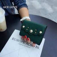 أزياء المرأة قصيرة ريال جلد طبيعي محافظ اللؤلؤ محفظة عملة حامل بطاقة محفظة الإناث المحافظ السيدات المحفظة
