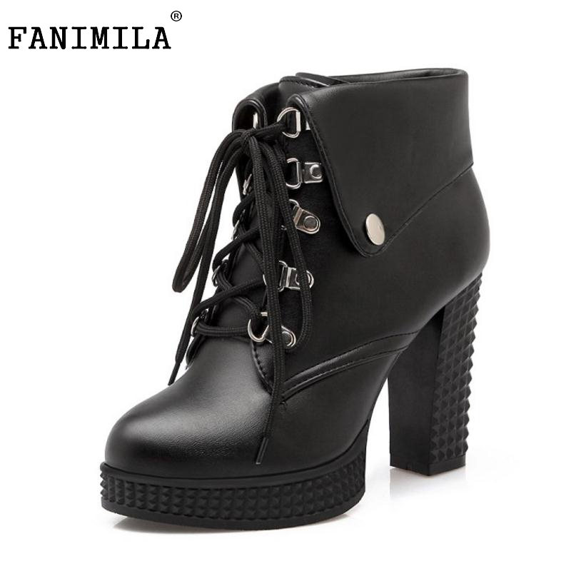 Women Platform Ankle Boots Designer Fashion Platform Chunky High Heels Lace Up Martin Boot Woman Winter Shoes Size 33-43 2015 winter autum women boots size 35 43 softs high heels fashion quality motorcycle shoes woman leather ankle boot s 67
