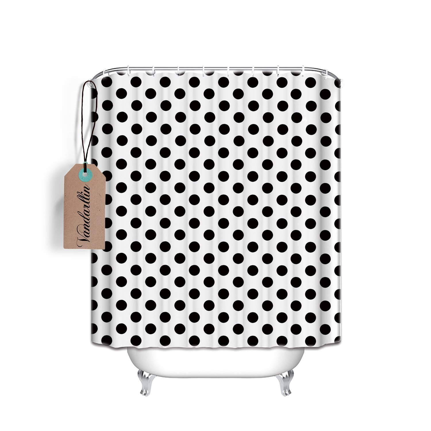 Online Shop Black And White Polka Dot Shower Curtain 100 Polyester Mildew Wrinkle Resistant Bold Classic Pattern Fabric