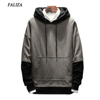 FALIZA 2017 2018 New Spring Autumn Hoodies Men Fashion Brand Pullover Fake Two Pieces Hoodie Sweatshirt