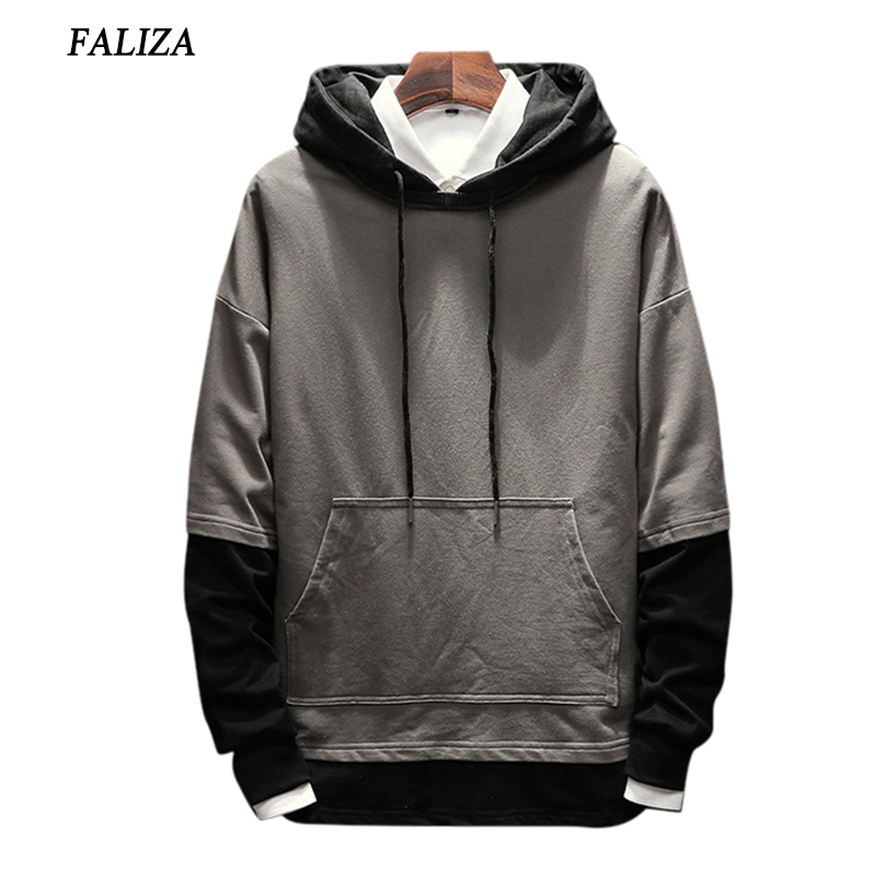 FALIZA 2017&2018 New Spring Autumn Hoodies Men Fashion Brand Pullover Fake Two Pieces hoodie sweatshirt Hip Hop Hoodie 5XL SMWYA