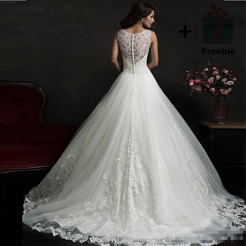 It S Yiiya O Neck Sleeveless Wedding Dresses Little Train Brides Gowns Lace Vestidos Deovia Casamento Hx052 In From Weddings Events On