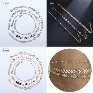 3Pcs/Set Gold Ankle Bracelet W