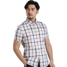 Deep New Cotton Business Shirt Men Dress Shirt Plaid Fashion Short Men's Shirt Men Tops Full Size Camisa Masculina Shirts 76548S