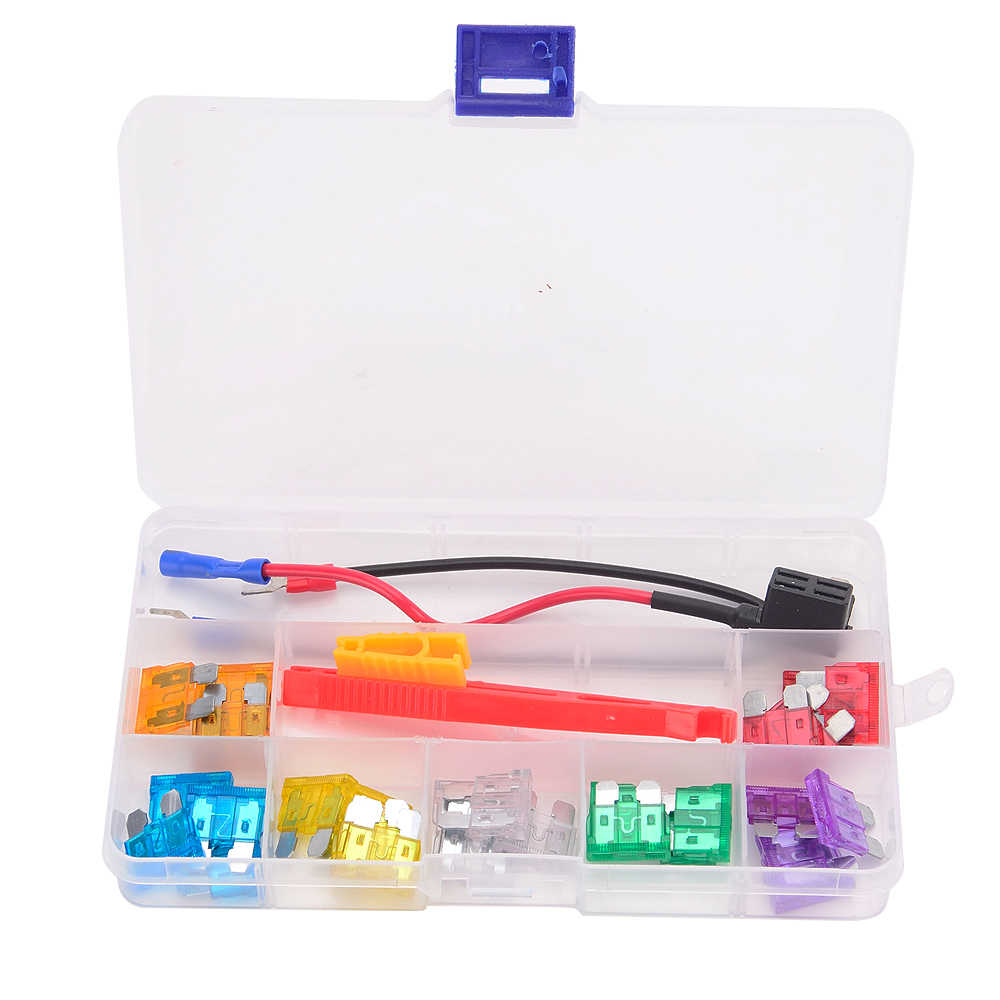small resolution of  28pcs 12v car fuses set boxes circuit breakers blade fuse holder block clip puller fuse tap
