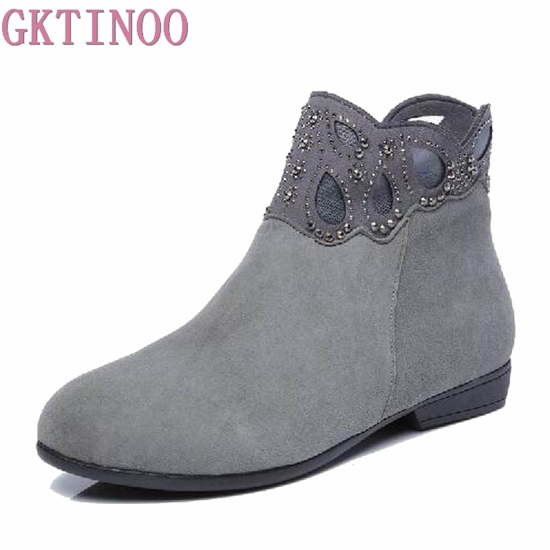GKTINOO Ankle boots Shoes Women Genuine Leather Ladies boots Retro Low Heel Rubber boots women autumn