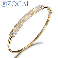ZOCAI 1 15 CT CERTIFIED DIAMOND CUFF BRACELET PAVE SETTING ROUND CUT 18K WHITE GOLD FREE