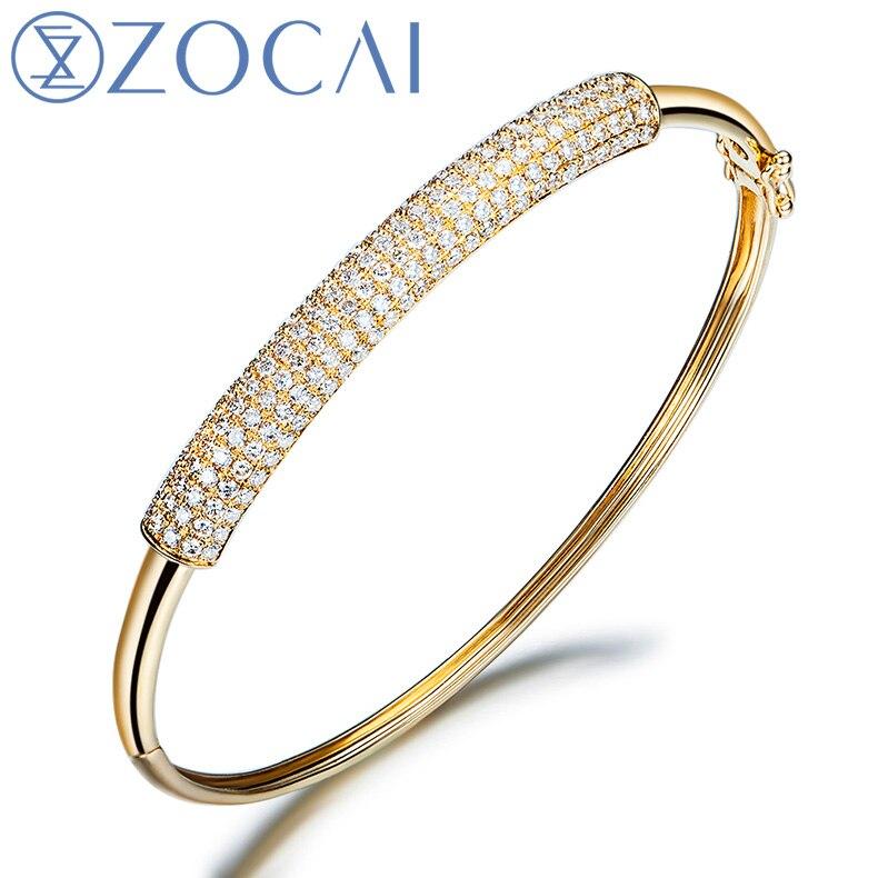ZOCAI 1.15 CT certifié diamant manchette BRACELETS BRACELET BRACELETS bijoux BRACELETS pavé réglage 18 K or blanc Z00055