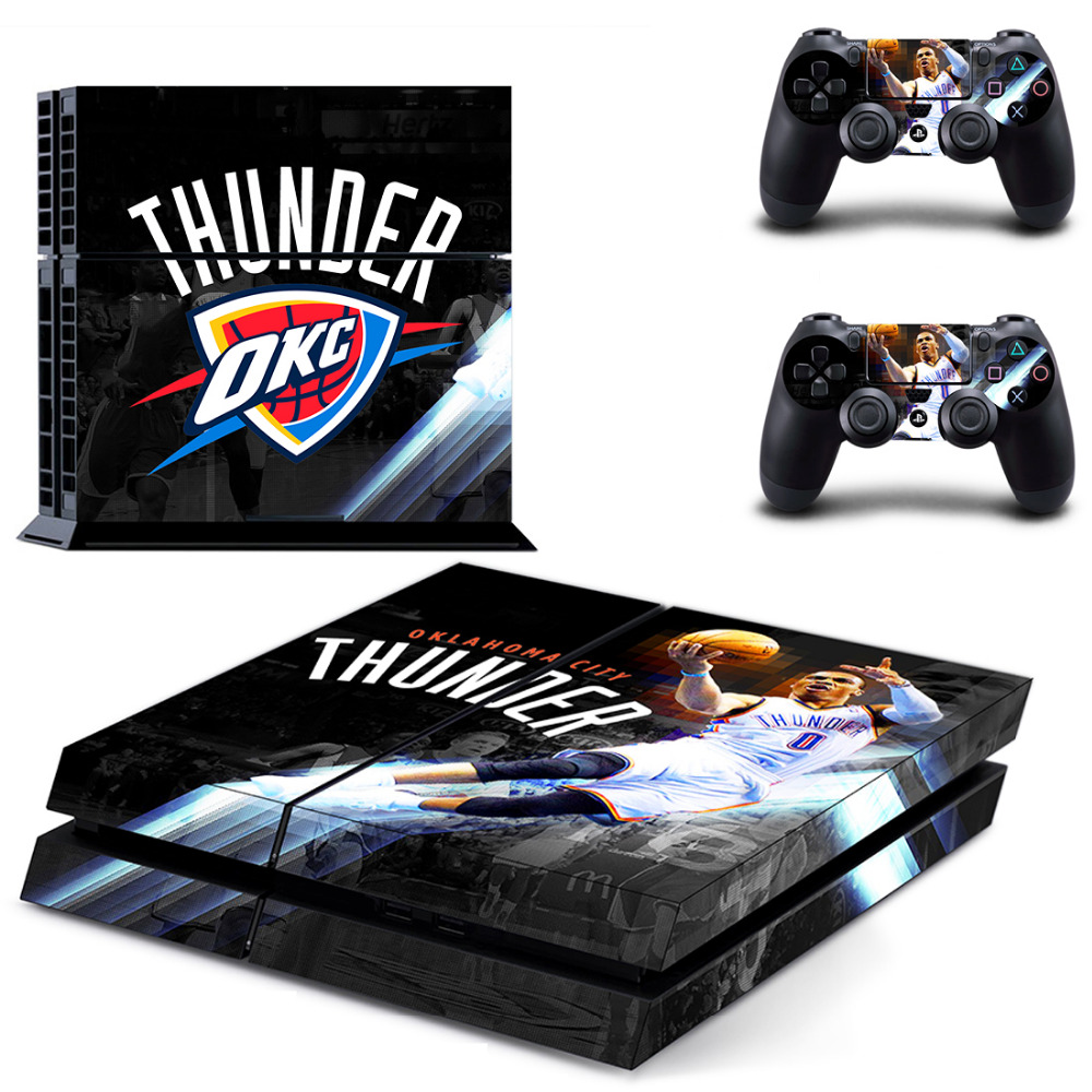Oklahoma city thunder ps4 skin sticker decal for sony playstation 4 console and 2 controller skins ps4 stickers vinyl accessory