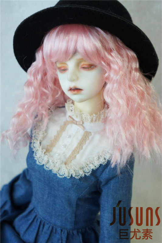 JD263 1/3 synthetic mohair doll wigs Pink curly SD BJD wigs 2016 new human hair wigs 100% virgin brazilian lace front wigs cheap deep curly glueless full lace wigs bleach knots freeship