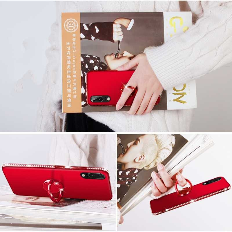 Ốp Lưng Dẻo Diamond cho Huawei P30 P20 P10 Giao Phối 20 Giao Phối 10 Lite Pro Cover Dành Cho Huawei Honor Veiw 20 10 9 Lite Pro 8X 7X 8C 8A Nhẫn Ốp Lưng