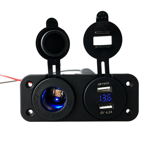 Double Hole Panel Round Dual USB Vehicle Power Plug Voltmeter Marine Socket C933 – Z 12 – 24V Cigarette Lighter Water Resistant