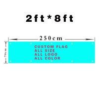 Custom Flag 250cmX70cm 8x2FT 100D Polyester Custom Banner All Logos All Colors All Sizes Flag Banner