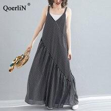 цены на QoerliN Chiffon Jumpsuits Women V-Neck Sleeveless Oversize Romper Wide Leg Loose Jumpsuits Big Size Striped Female Clothing L-XL  в интернет-магазинах