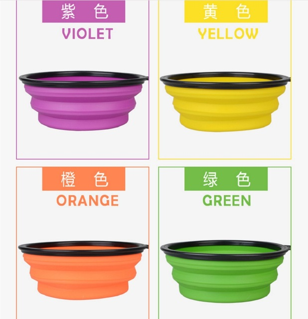 C76 New Big  Dog Bowl Silicone Fording Feeding Cats Bowl Water Dish Portable Big size Feeder Travel Bowls for Large dog