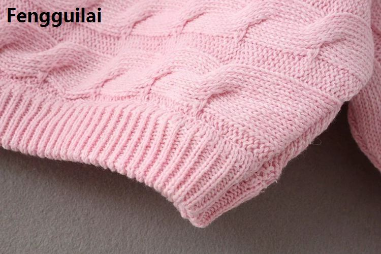 Autumn Knitted Sweater Winter Pullover Women Tops Loose V Neck Jumper Casual Clothes Femme off shoulder front flower in Pullovers from Women 39 s Clothing