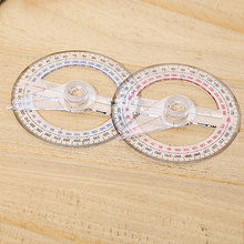 Hot Circular 10cm Plastic 360 Degree Pointer Protractor Ruler Angle Finder Swing Arm For School Office Supplies Randowcolor