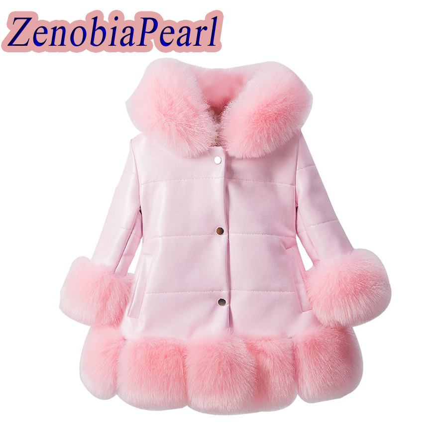 Girls's PU leathe fox faux fur collar jacket coat down parkas thicken coat princess winter outerwear fur coat цены