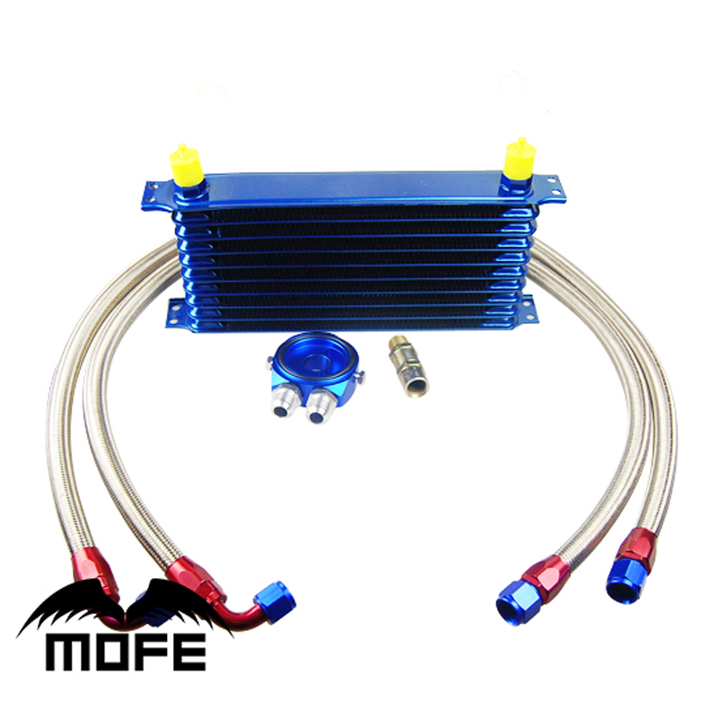 Blue AN10 Engine Transmission 9 Rows Oil Cooler Kit With Braided Stainless Steel Fuel Pipes + Oil Filter Sandwich Adapter pqy racing an10 oil cooler kit 30rwos transmission oil cooler silver oil filter adapter blue stainless steel braided hose