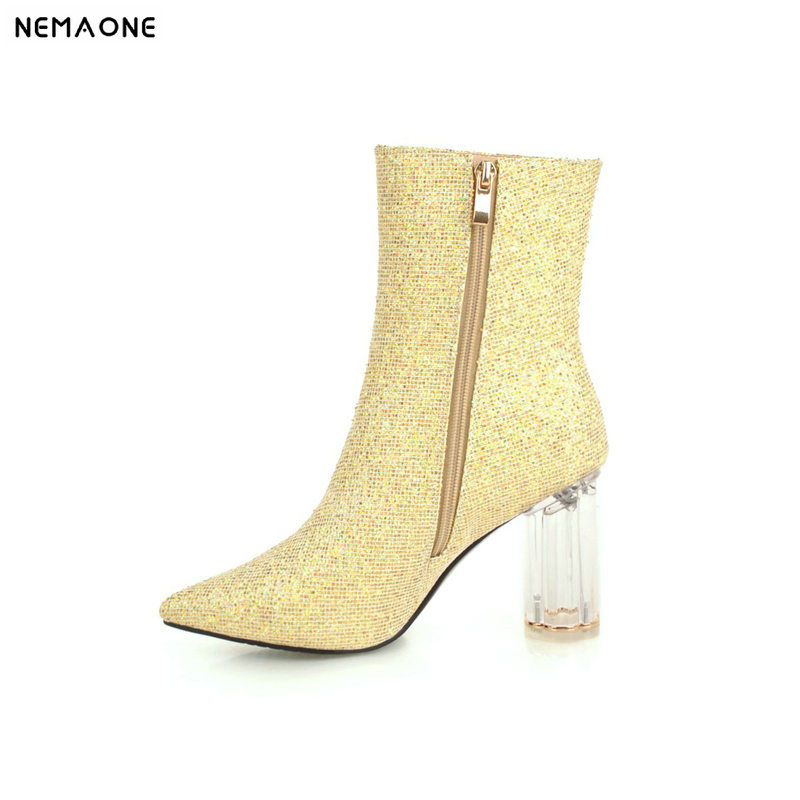 NEMAONE New women high heels ankle boots winter warm dancing shoes woman poined toe ladies party dress shoes large size 42 43 цена