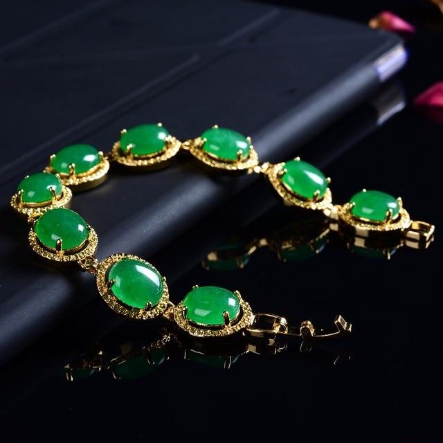 c4427618c الإكسسوارات الأخضر افينتورين الأحجار العقيق ستراند سوار اليد سلسلة سحر  مجوهرات جعل سلاسل محظوظ الخرز نساء
