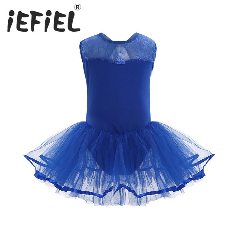 iEFiEL Girls Ballet Flower Cutout Back Dance Gymnastics Leotard Tutu Dress Ballerina Fancy Party Costumes Ballet Tulle Dress