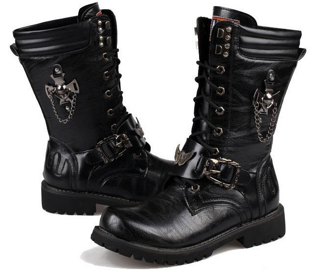 Aliexpress.com : Buy men long boots black color and steel toe hard