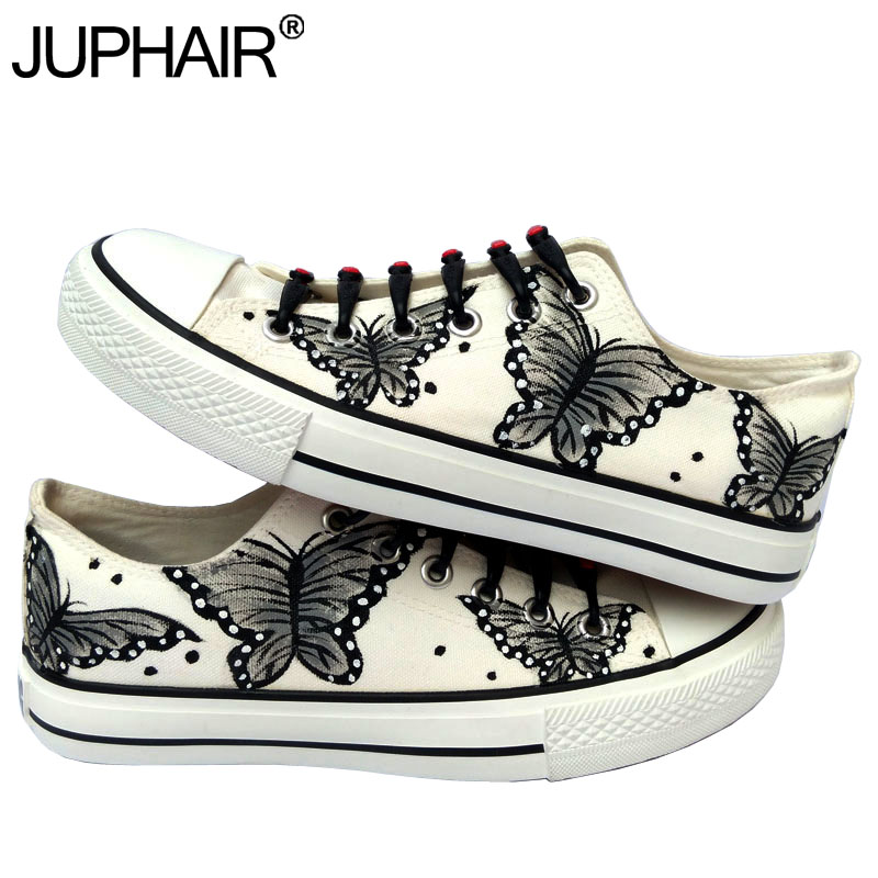 ФОТО JUP Mens Animated Cartoon Anime Butterfly Despicable Me Minion Shoes Couples Hand Painted Canvas Shoes Casual Black Tie Shoelace