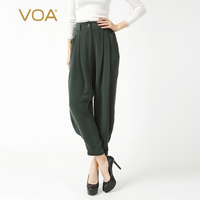 VOA Heavy Silk Plus Size Casual Vintage Trouser Solid Army Green Harem Pants Brief Leisure Mid Waist Women Bottoms Spring K6362