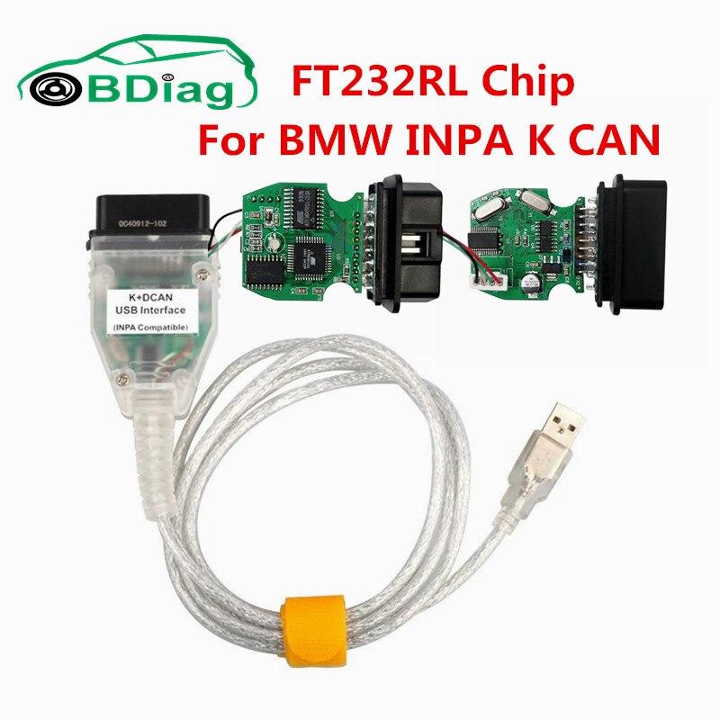 Prix pour Haute Qualité Pour BMW INPA K DCAN + PEUT K PEUT INPA Avec FT232RL puce Fonctionne Pour BMW 1998 À 2008 OBD2 USB Outil De Diagnostic CNP GRATUIT