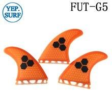 Future G5 Surfing Fin Fiberglass Honeycomb Orange Color Fins Customized Surfboard