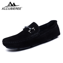 Купить с кэшбэком Men Casual Shoes Suede Leather Loafers Slip on Driving Shoes Men Moccasin Boat Shoes  Men Shoes Gommino 2018 New