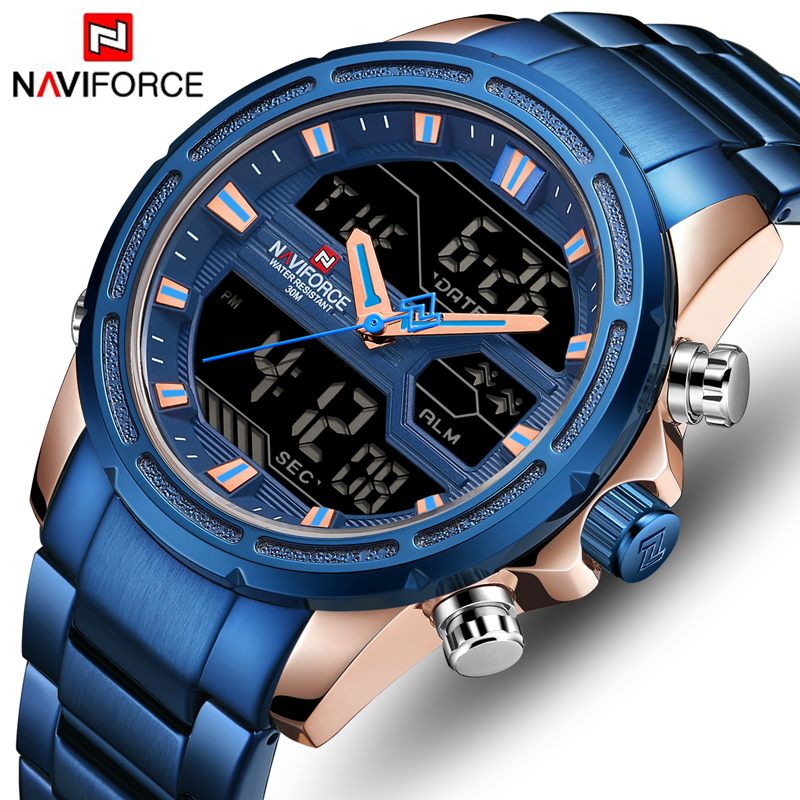 NAVIFORCE Mens Watches Top Brand Luxury Fashion Analog Digital Dual Display Watch Men Casual Military Sport Quartz Wrist Watch