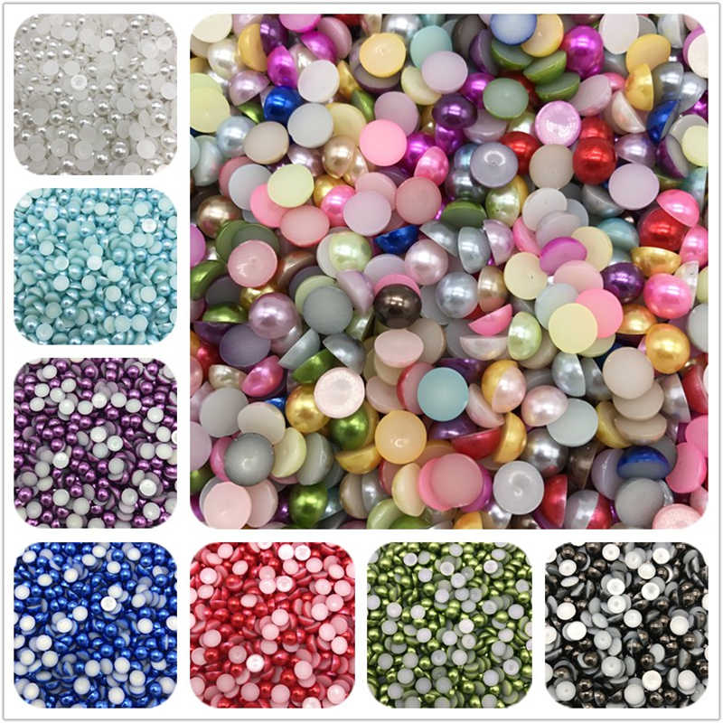 4-10mm Sky Blue Imitation Pearl Half Round Pearl Bead Flat Back Scrapbook For Phone Case Scrapbook Women Nail Art Jewelry Making