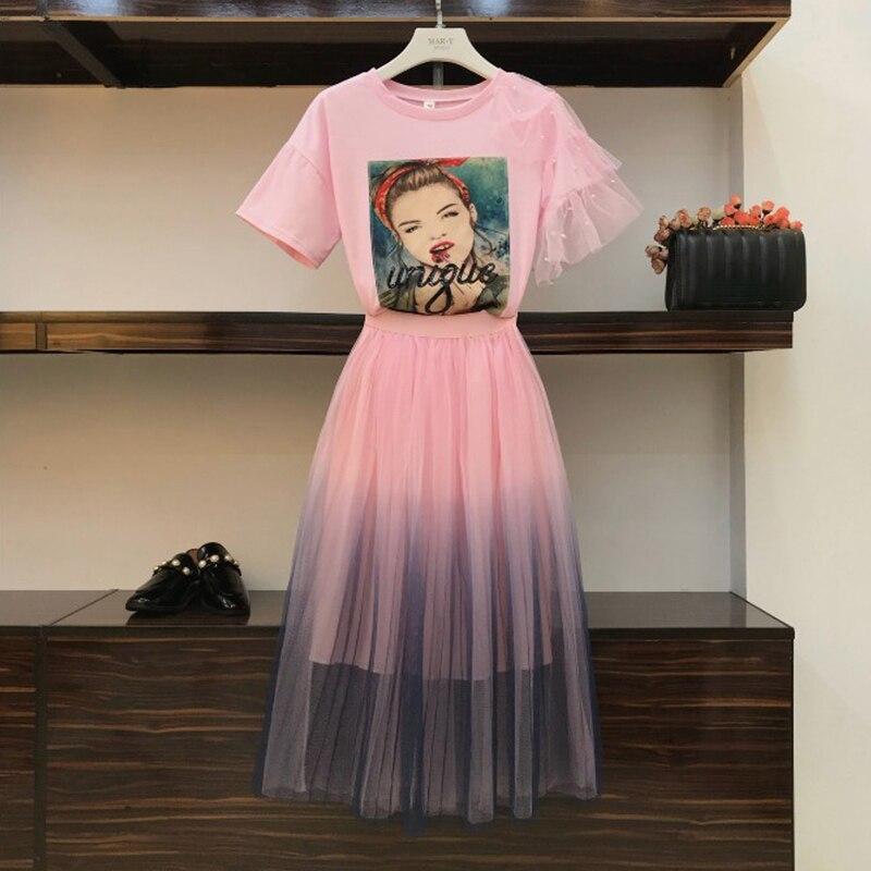 High Quality Summer 2 Piece Set Women Girls Short-sleeved T-shirt + Fairy Gradient Gauze Skirt Two-piece Students Skirt Set Suit