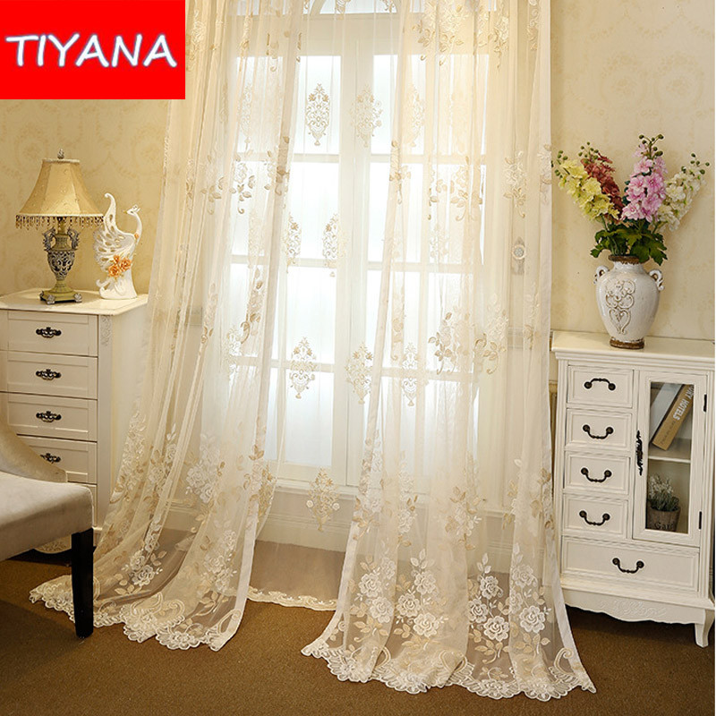 3 Piece Kitchen Window Curtain Set With Flower Embroidered: Luxury Floral Embroidered Window Sheer Curtains For Living