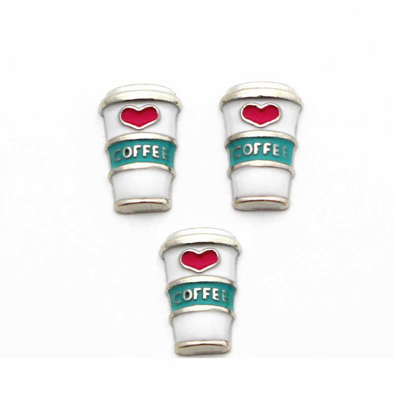 ホット販売 20 ピース/ロット金属私はコーヒーカップガラスメモリーグラスロケットの生活のためフローティングロケットブレスレットネックレス Diy のジュエリー