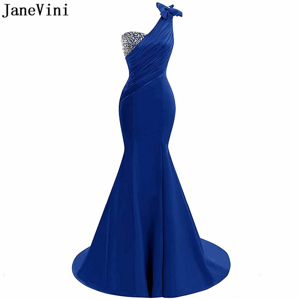 JaneVini Sexy Mermaid Royal Blue Long Bridesmaid Dresses One Shoulder Beaded Backless Satin Dress Sweep Train Prom Party Gowns