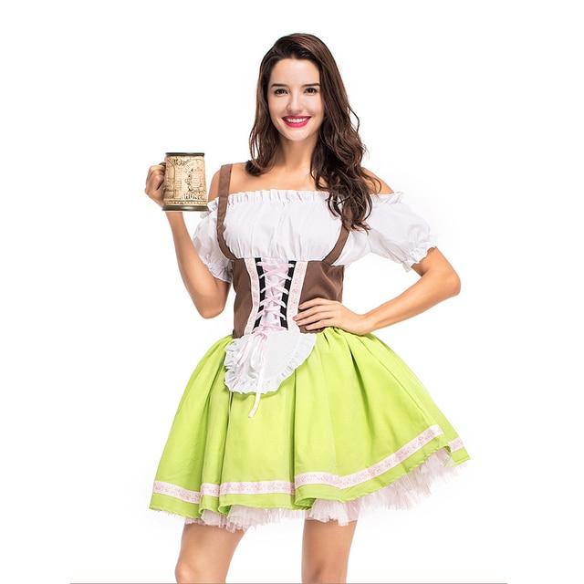 Plus Size Maid Dress German Beer Girl Dirndl Costume Lolita Dress