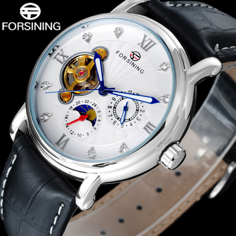 Fashion Casual NEW FORSINING Luxury Roman Numeral Dail With Rhinestones Mens Wrist Watches moon phase display