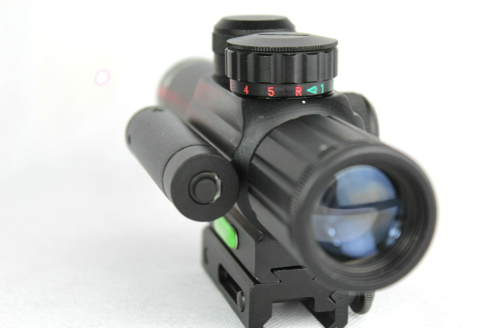 ФОТО Hunting riflescope Tactical 4x25 Rifle Telescopic + Red Laser Sight+ Mount For Optics Tactical Telescopic Sight outing