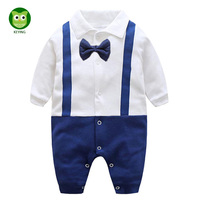 KEYING Baby Rompers Clothing Newborn Baby Boy Long sleeve Set Barboteuse Clothes Gentleman Infant Pajama 2017 Fashion Autumn