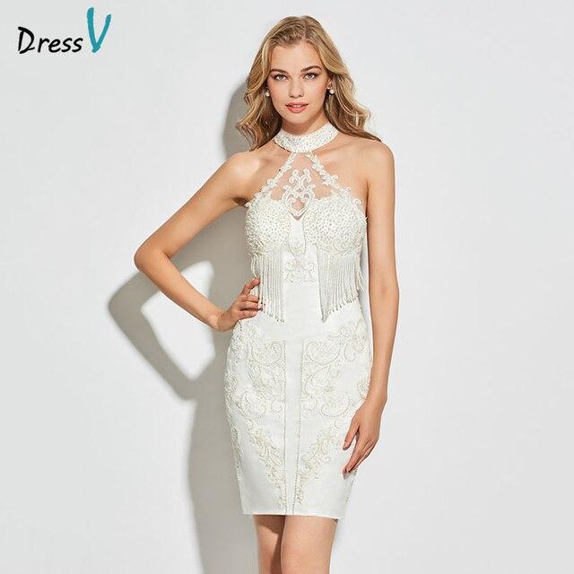 Dressv ivory cocktail dress elegant high neck button sheath beading tassel wedding party formal dress cocktail dresses