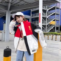 Jackets Women Turn down Collar Patchwork Hip Hop Loose Ulzzang Oversize Leisure Pockets Jacket Womens Trendy Letter Printed Coat