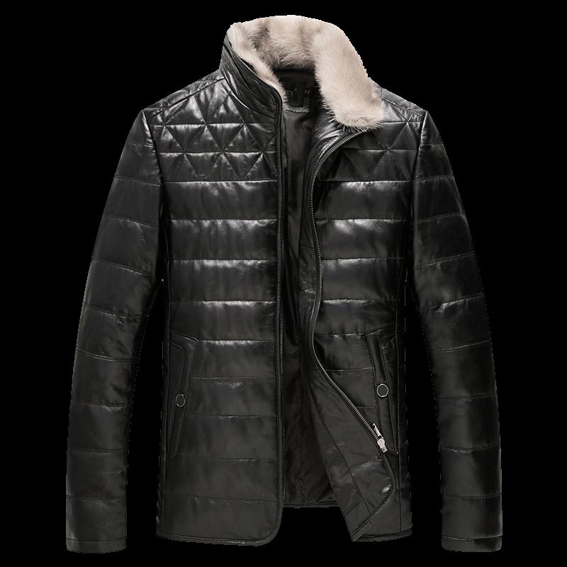 Winter Geniune Leather Jacket Men Real Sheepskin and mink collar fur Coat 2017 New Plus Size 4XL Warm Duck Down Male Overcoat