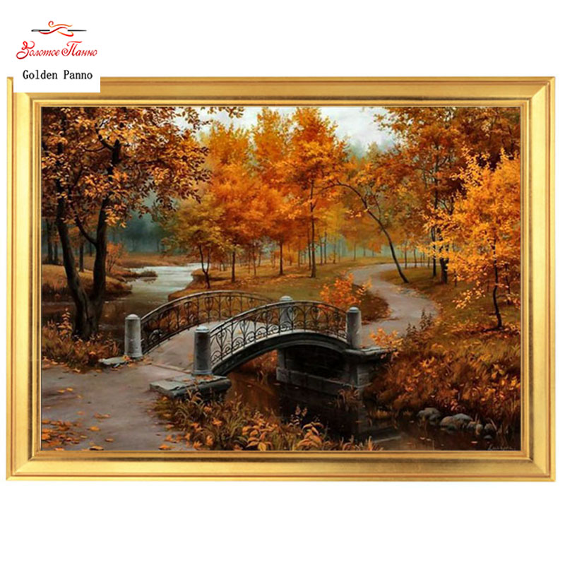 Golden Panno Needlework DIY DMC Cross stitch Sets For Embroidery kit 14ct unprinted cotton thread Autumn