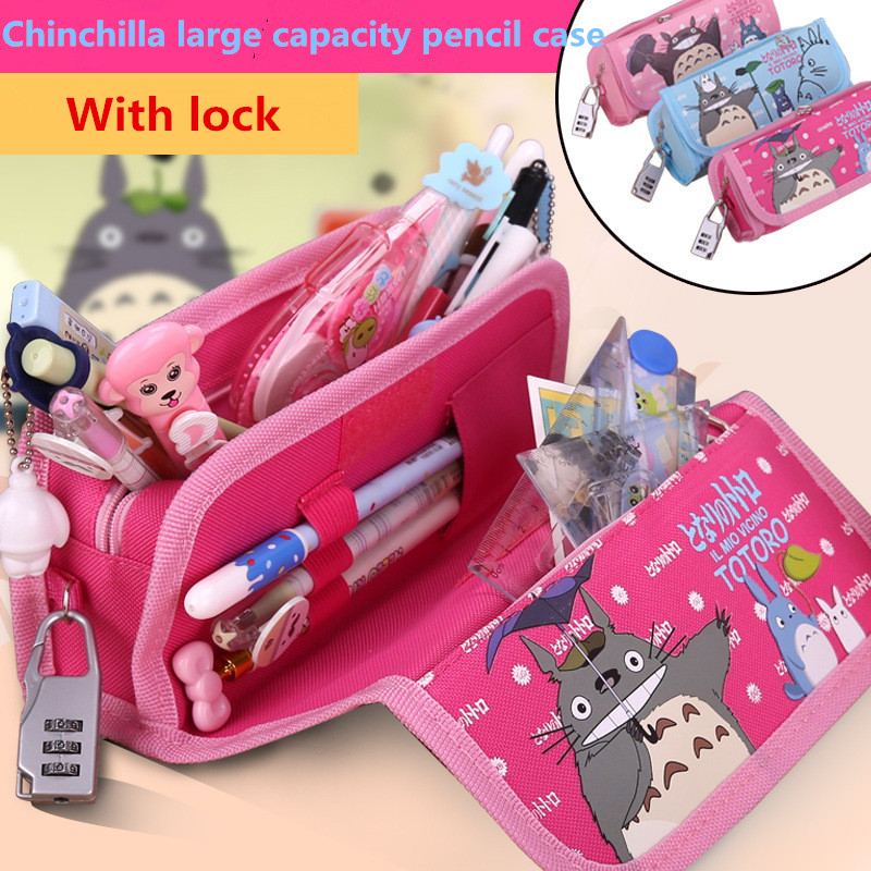 Cute Cartoon My Neighbor Totoro PU Leather Pencil Case Stationery Storage Organizer Bag School Supply Escolar Papelaria 0428