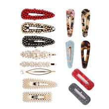 14 Pcs Hair Clips Artificial Pearl Acrylic Acetic Acid Hairpin Combination Girls Jewelry Decoration